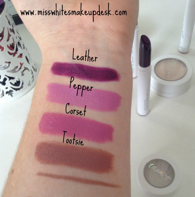colourpop swatches leather pepper corset tootsie