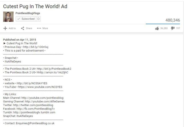 Youtube sponsored video money zoella pointless blog alfie shaaanxo