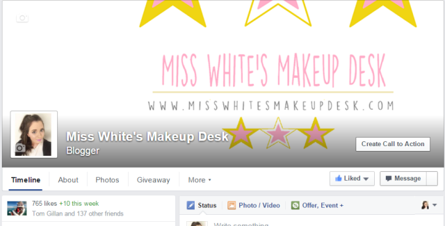 Miss White's Makeup Desk on Facebook Beauty Blog Page