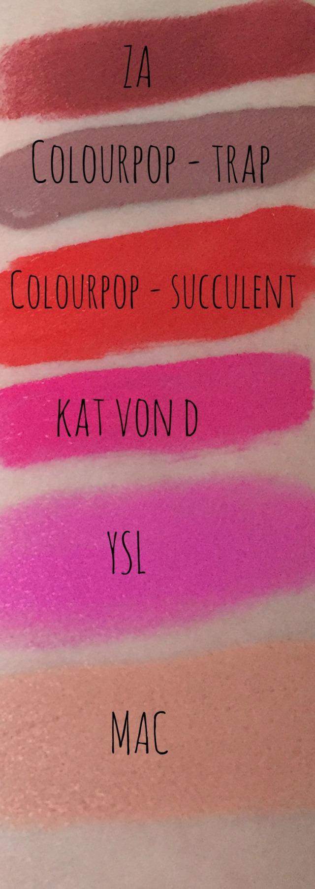 Swatch Lipsticks I use Everyday Colourpop Ultra Matte YSL Rouge Pur Couture Mac Kat Von D