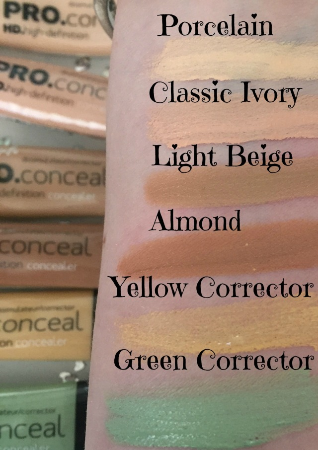 L.A. Girl PRO.conceal swatches Porcelain Yellow Green Almond ivory
